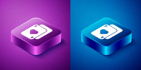 Isometric Playing cards icon isolated on blue and purple background. Casino gambling. Square button. Vector Illustration