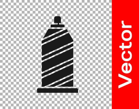 Black Sewing thread on spool icon isolated on transparent background. Yarn spool. Thread bobbin. Vector Illustration