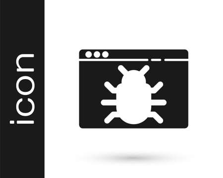 Black System bug concept icon isolated on white background. Code bug concept. Bug in the system. Bug searching. Vector Illustration