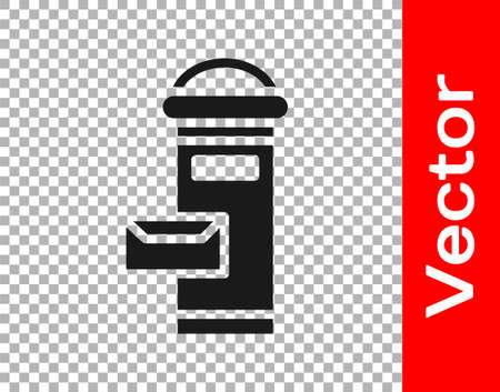 Black Traditional London mail box icon isolated on transparent background. England mailbox icon. Mail postbox. Vector