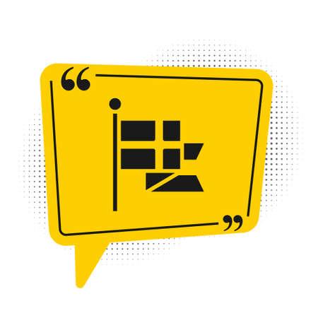 Black Flag of England on flagpole icon isolated on white background. Yellow speech bubble symbol. Vector 向量圖像