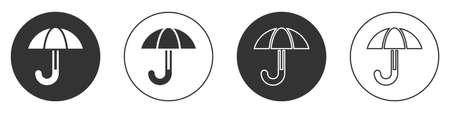 Black Classic elegant opened umbrella icon isolated on white background. Rain protection symbol. Circle button. Vector Vettoriali