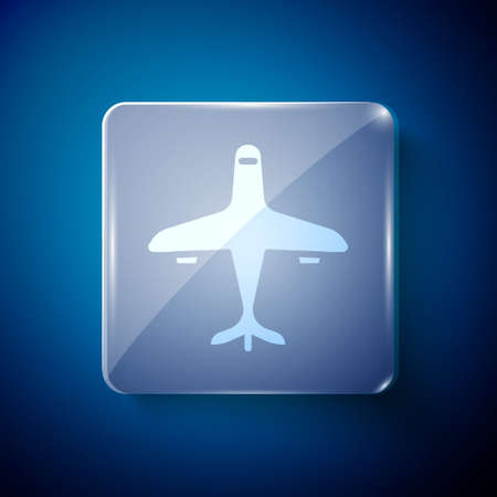 White Plane icon isolated on blue background. Flying airplane icon. Airliner sign. Square glass panels. Vector