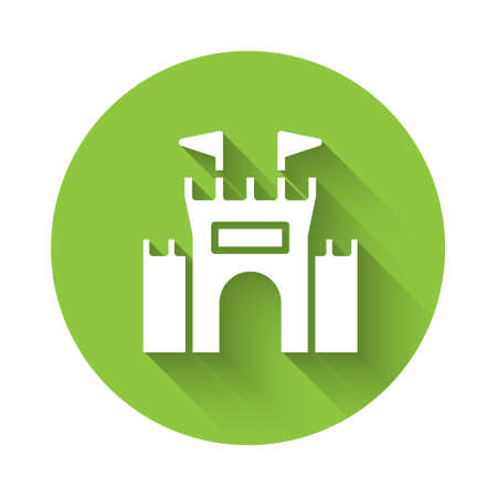 White Castle icon isolated with long shadow. Green circle button. Vector 矢量图像