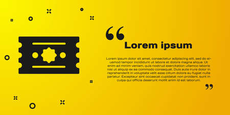 Black Ticket icon isolated on yellow background. Amusement park. Vector