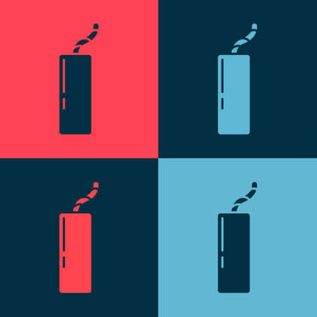 Pop art Detonate dynamite bomb stick and timer clock icon isolated on color background. Time bomb - explosion danger concept. Vector