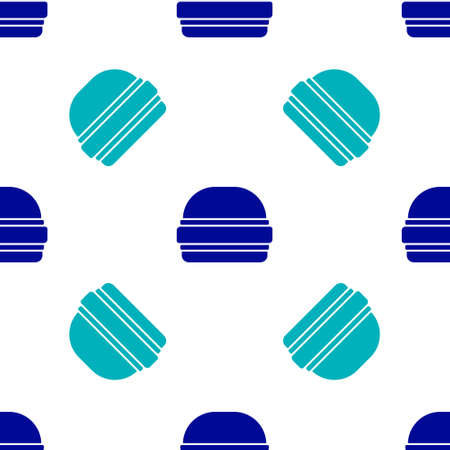 Blue Burger icon isolated seamless pattern on white background. Hamburger icon. Cheeseburger sandwich sign. Fast food menu. Vector