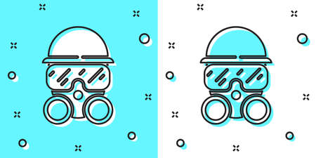 Black line Gas mask icon isolated on green and white background. Respirator sign. Random dynamic shapes. Vector