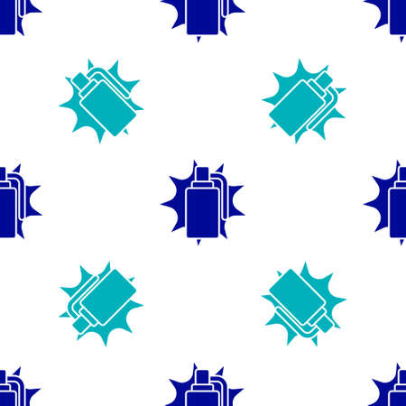 Blue Hand grenade icon isolated seamless pattern on white background. Bomb explosion. Vector