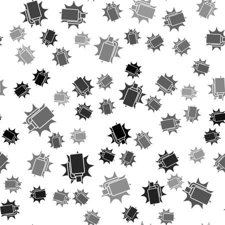 Black Hand grenade icon isolated seamless pattern on white background. Bomb explosion. Vector
