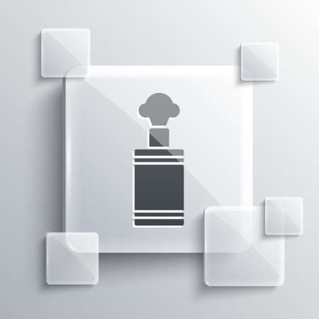 Grey Hand grenade icon isolated on grey background. Bomb explosion. Square glass panels. Vector 向量圖像