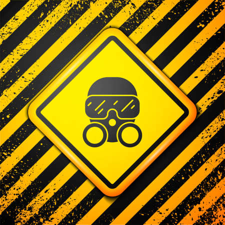 Black Gas mask icon isolated on yellow background. Respirator sign. Warning sign. Vector 向量圖像