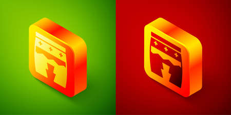Isometric Musical instrument huehuetl icon isolated on green and red background. Square button. Vector