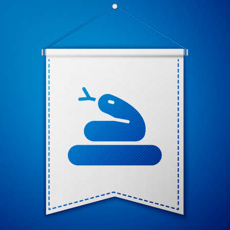Blue Snake icon isolated on blue background. White pennant template. Vector