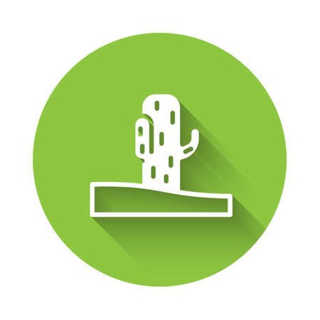White Cactus icon isolated with long shadow. Green circle button. Vector