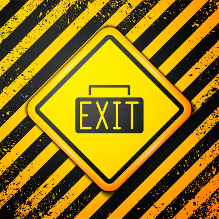 Black Exit icon isolated on yellow background. Fire emergency icon. Warning sign. Vector
