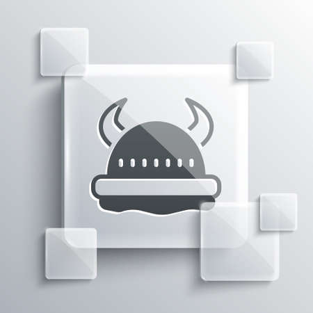 Grey Viking in horned helmet icon isolated on grey background. Square glass panels. Vector
