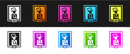 Set Portrait picture in museum icon isolated on black and white background. Vector