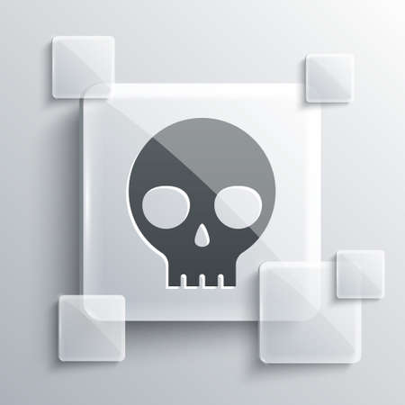Grey Human skull icon isolated on grey background. Square glass panels. Vector