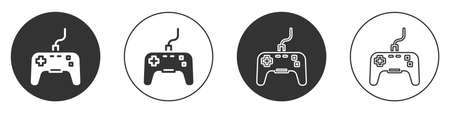 Black Gamepad icon isolated on white background. Game controller. Circle button. Vector