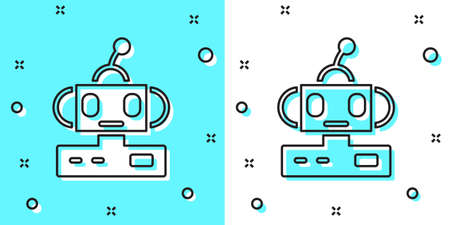 Black line Robot toy icon isolated on green and white background. Random dynamic shapes. Vector