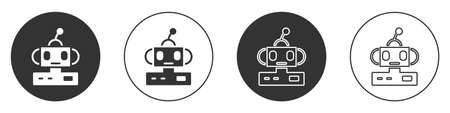 Black Robot toy icon isolated on white background. Circle button. Vector 矢量图像