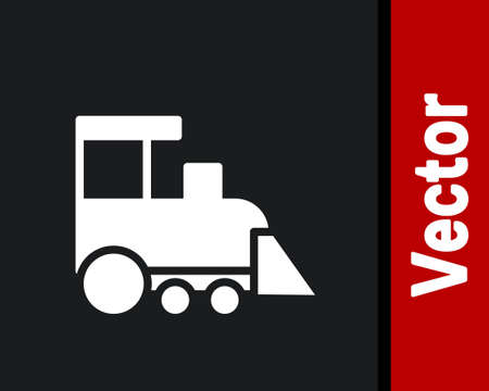 White Toy train icon isolated on black background. Vector