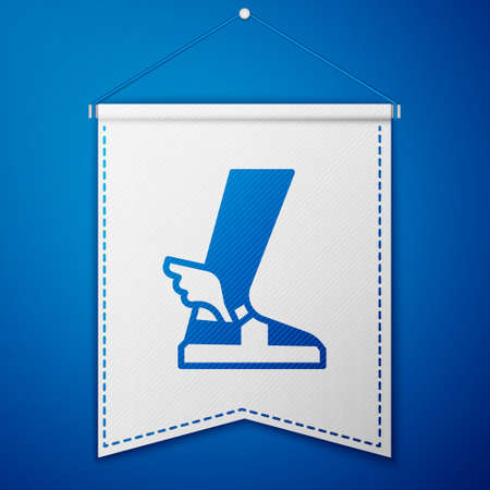 Blue ancient sandal icon isolated on blue background. Ancient greek god  . Running shoe with wings. White pennant template. Vector