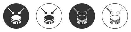 Black Drum with drum sticks icon isolated on white background. Music sign. Musical instrument symbol. Circle button. Vector Illusztráció
