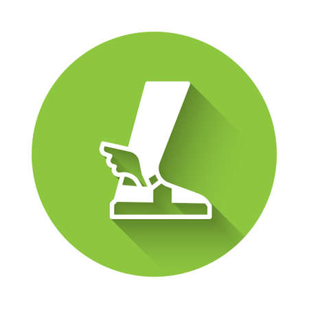 White  ancient sandal icon isolated with long shadow. Ancient greek god  . Running shoe with wings. Green circle button. Vector