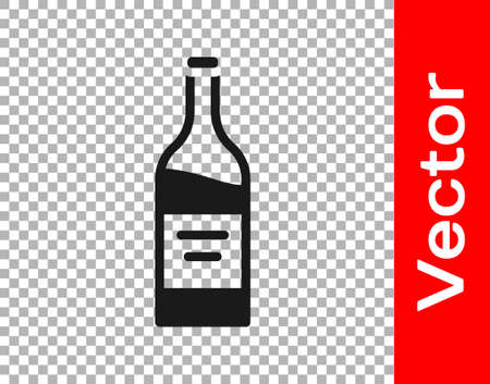 Black Bottle of wine icon isolated on transparent background. Vector 矢量图像