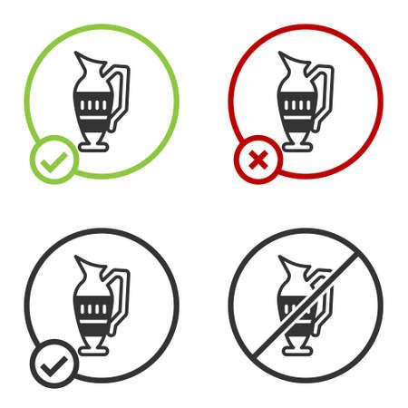 Black Ancient amphorae icon isolated on white background. Circle button. Vector Ilustración de vector