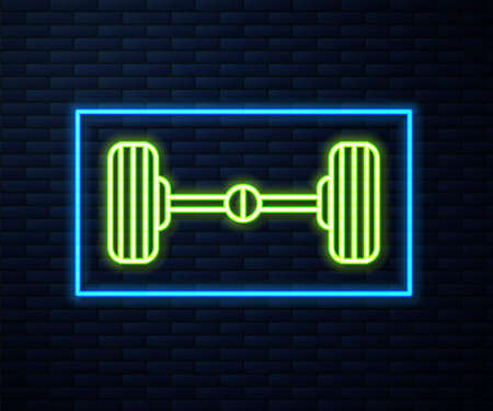 Glowing neon line Chassis car icon isolated on brick wall background. Vector Illustration