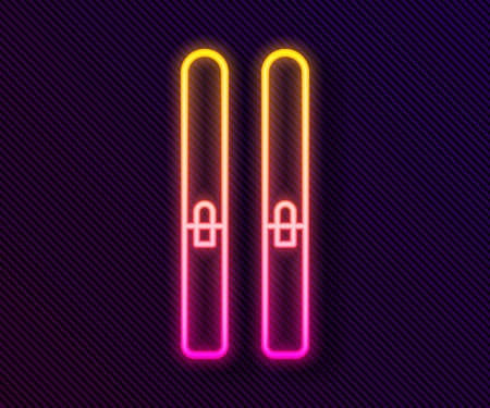 Glowing neon line Ski and sticks icon isolated on black background. Extreme sport. Skiing equipment. Winter sports icon. Vector Illustration