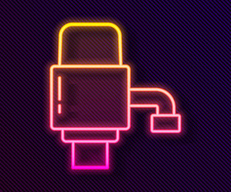 Glowing neon line Mechanical pump for bottled water icon isolated on black background. Vector Illustration Ilustrace