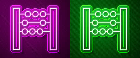 Glowing neon line Abacus icon isolated on purple and green background. Traditional counting frame. Education sign. Mathematics school. Vector Illustration