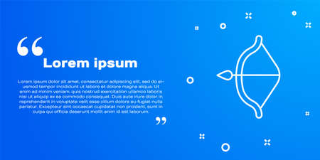 White line Medieval bow and arrow icon isolated on blue background. Medieval weapon. Vector