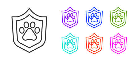 Black line Animal health insurance icon isolated on white background. Pet protection concept. Dog or cat paw print. Set icons colorful. Vector 向量圖像