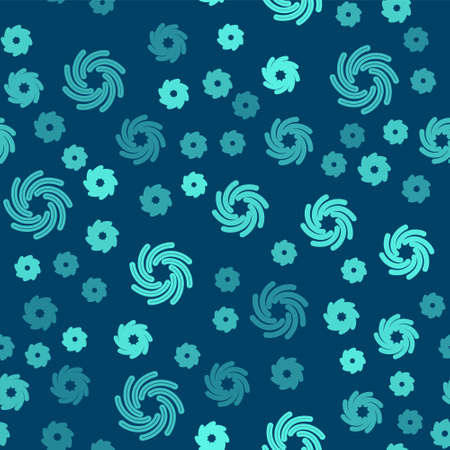 Green line Tornado icon isolated seamless pattern on blue background. Cyclone, whirlwind, storm funnel, hurricane wind or twister weather icon. Vector 向量圖像
