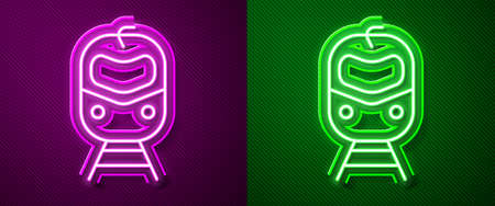 Glowing neon line Train and railway icon isolated on purple and green background. Public transportation symbol. Subway train transport. Metro underground. Vector