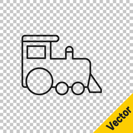 Black line Toy train icon isolated on transparent background. Vector