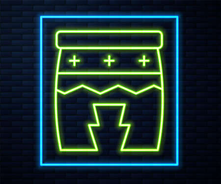 Glowing neon line Musical instrument huehuetl icon isolated on brick wall background. Vector