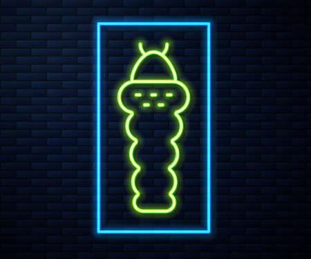 Glowing neon line Larva insect icon isolated on brick wall background. Vector Illustration