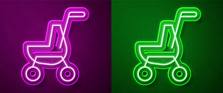Glowing neon line Baby stroller icon isolated on purple and green background. Baby carriage, buggy, pram, stroller, wheel. Vector 免版税图像 - 157176650