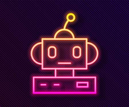 Glowing neon line Robot toy icon isolated on black background. Vector 矢量图像