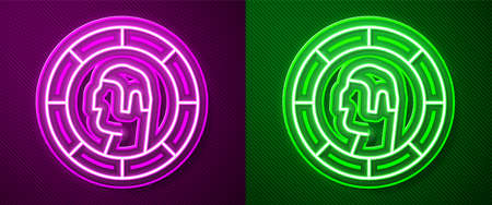 Glowing neon line Ancient Greek coin icon isolated on purple and green background. Vector
