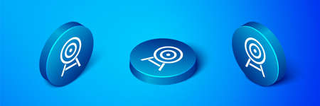 Isometric Target with arrow icon isolated on blue background. Dart board sign. Archery board icon. Dartboard sign. Business goal concept. Blue circle button. Vector