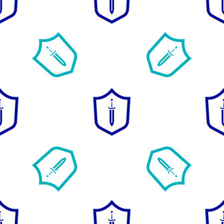Blue Medieval shield with sword icon isolated seamless pattern on white background. Vector 矢量图像