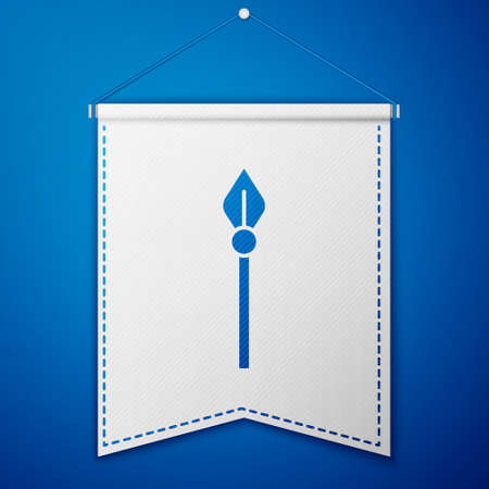 Blue Medieval spear icon isolated on blue background. Medieval weapon. White pennant template. Vector