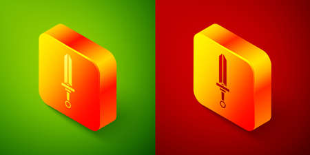 Isometric Medieval sword icon isolated on green and red background. Medieval weapon. Square button. Vector
